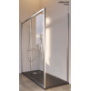 Fixed shower panel for partitions with lower guide