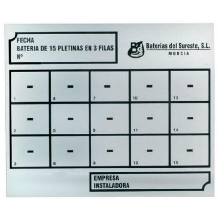 PLACA DE CLASIFICACIÓN PARA BATERÍA DE 3 FILAS