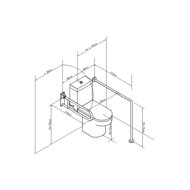 BARRA 90º PARED A SUELO DE ACERO CON 2 ANCLAJES - DISPER 8f6cacbca563
