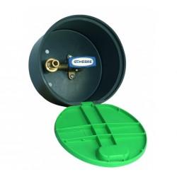 Robinet à tournant sphérique et douille d'irrigation verticale dans une boîte avec couvercle