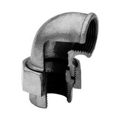 Union elbow F/F with conical seat - Galvanized iron