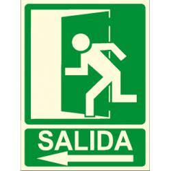 Cartel SALIDA + flecha izquierda + imagen salida
