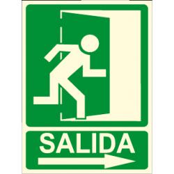 Pôster SAÍDA + seta direita + imagem de saída