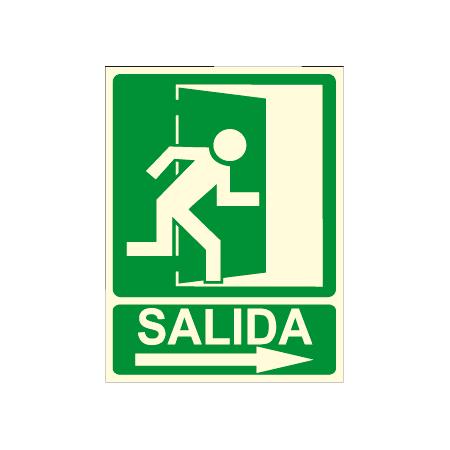 Cartel SALIDA + flecha derecha + imagen salida