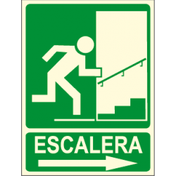 Cartel ESCALERA + flecha derecha