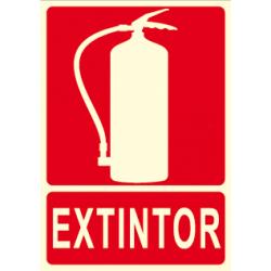 Cartel EXTINTOR con la imagen de un extintor anti-incendios