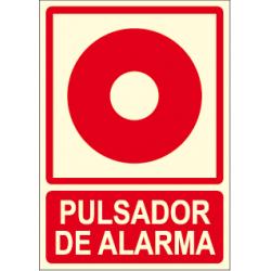 Cartel PULSADOR DE ALARMA con logo pulsador