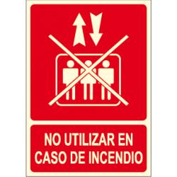 Pôster NÃO UTILIZAR EM CASO DE INCÊNDIO com elevador riscado
