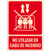 Poster DO NOT USE IN CASE OF FIRE with crossed out logo elevator