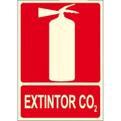 Affiche sur l'extincteur CO2 avec logo d'extincteur