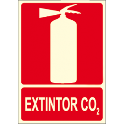 Manifesto di ESTINTORE CO2 con logo estintore