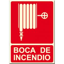 Cartel BOCA DE INCENDIO con logo manguera