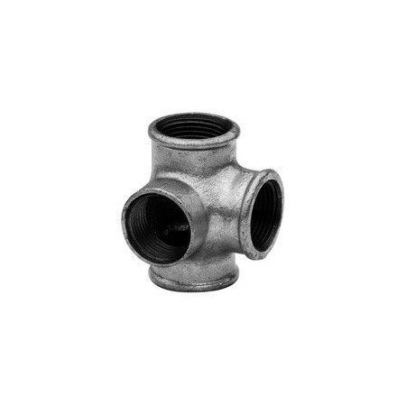 Elbow with 2 laterals F - Galvanized iron
