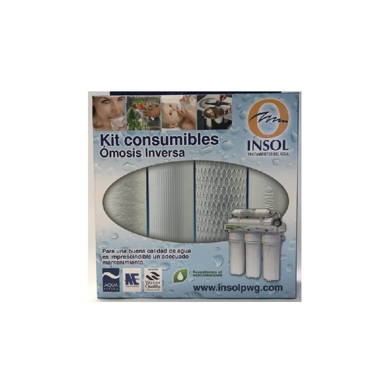 KIT Cartuchos De Repuesto Osmosis Inversa PALLAS (Sedimento + Gac + Block + Postfiltro)